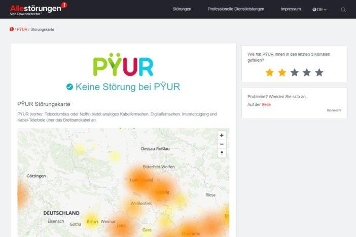 Alle Störungen: Pyur Ausfälle und Probleme (Screenshot der Website)