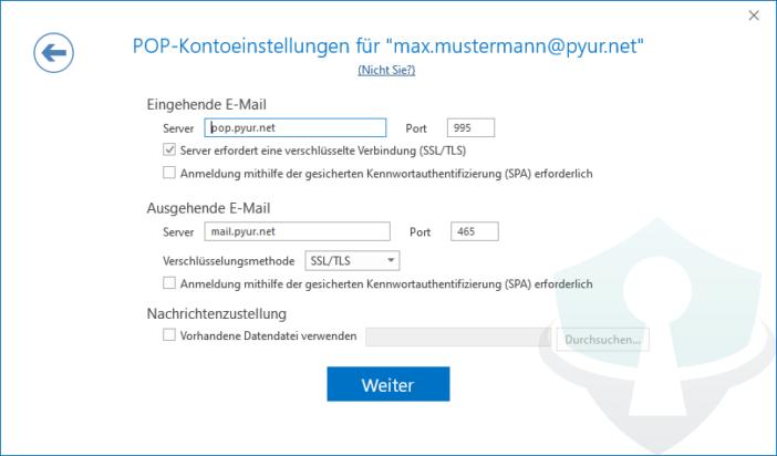 Pyur Posteingang im Outlook einrichten