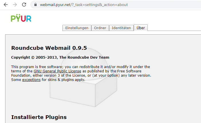 Pyur: Roundcube Webmail Software in der Version 0.9.5