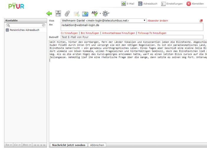 Oberfläche des Pyur Webmails im Browser