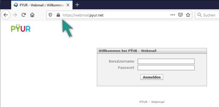 Pyur Webmailer Login - auf SSL-Verschlüsselung im Browser achten